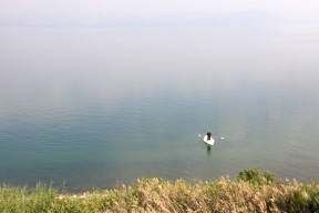 Paddle Boarder in Sea of Galilee