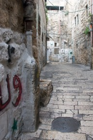 Whitewashed Streets in Jersualem with Stencils