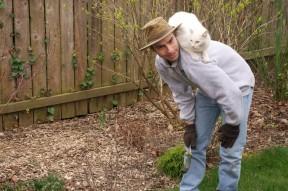 Cat and Victor in Garden