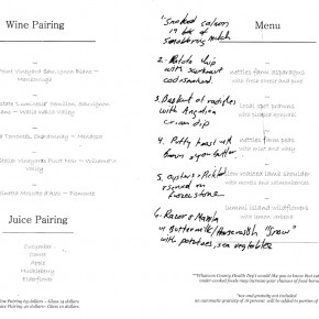 Willows Inn Spring Menu