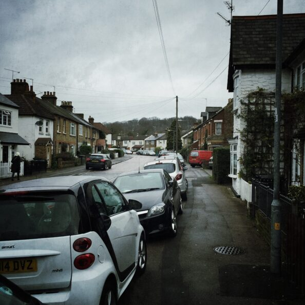 This is the village of Loughton. When they have these villages on TV, i don't recall them being chocked with cars. You can take the tube here, though Zone 6.