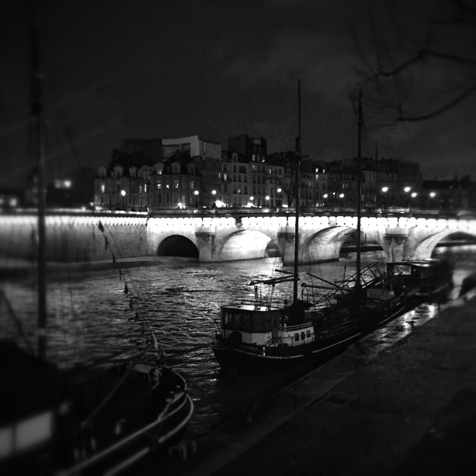 Ah, a romantic night on the Seine, bundled up and walking to a concert.