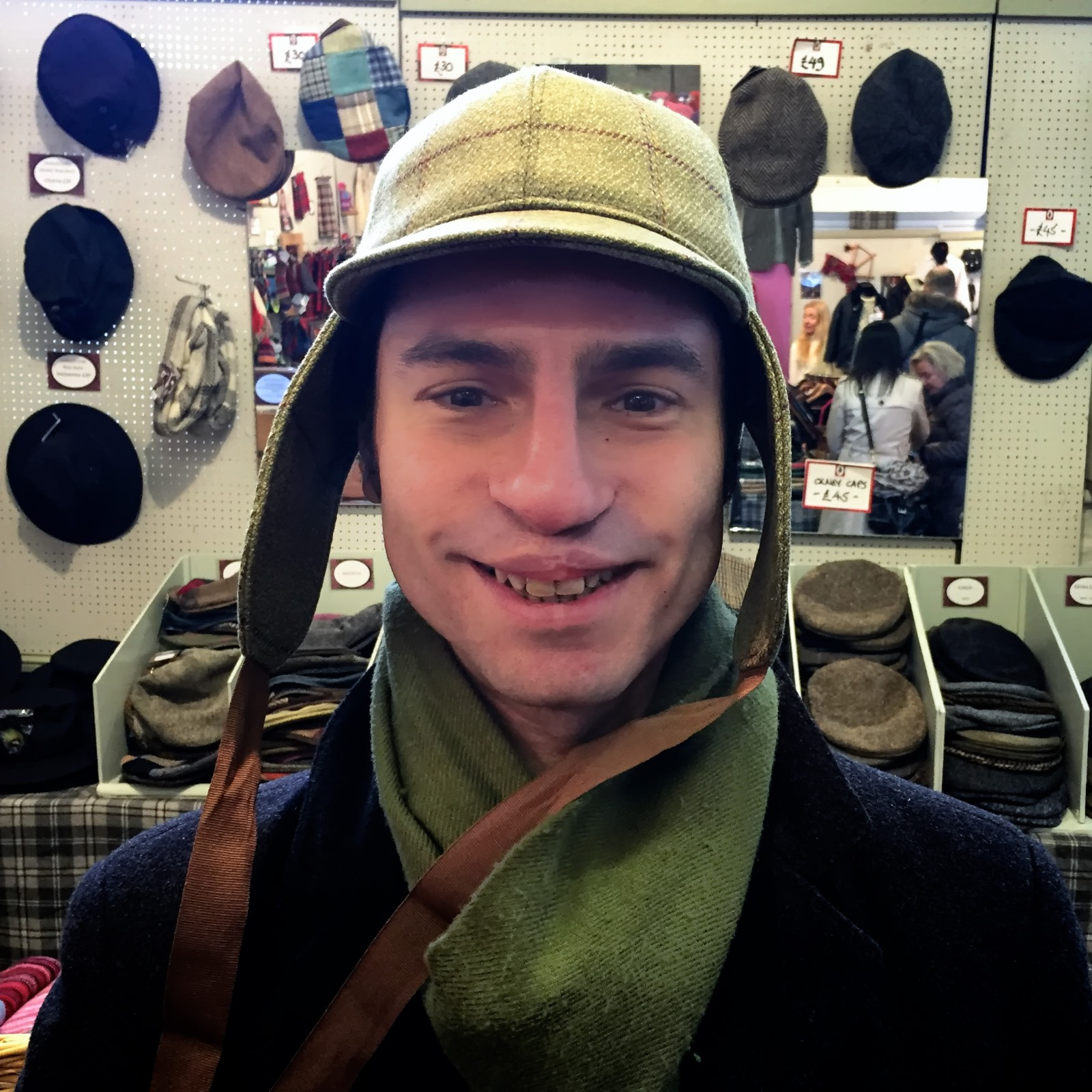 And he was seriously considering buying a deer stalker hat, just like Sherlock. I kinda wish he did. Dorky! Cute! Dorky!