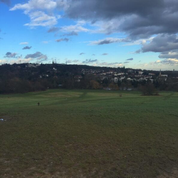 Hampstead Heath, famous for its fresh air, view of London, and the walk of Samuel Coleridge and John Keats.