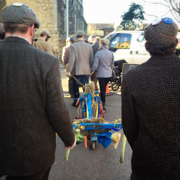 These fellows dragged this plow decorated with harvest across the village to the church. Tomorrow is plough service.